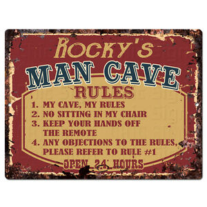 PPMR0530 ROCKY'S MAN CAVE RULES Rustic Tin Chic Sign man cave Decor Gift