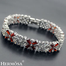 "Hermosa AAA 925 Sterling Silver Valentine's Gift White Topaz Garnet Bracelets 7"""