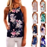 Women's Ladies Sleeveless Vest Tank Top Summer Beach Floral Blouse Loose T Shirt