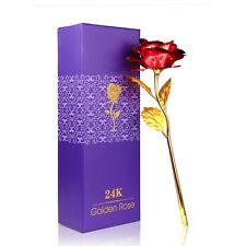 Unique 24k Gold Rose Foil Red Flowers Gift Box For Valentine's Love Day New