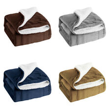 Sherpa Throw Blanket Soft Warm Luxurious Double Flannel Blanket for Bed Sofa New