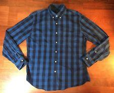 J Crew Plaid Check Button Front Shirt Mens L Large Blue