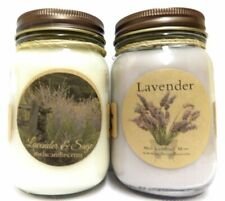 Combo - Lavender and Lavender and Sage Set of Two 16oz Soy Candles Apx Burn Time