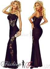 Women Evening Dress Maxi Ball Gown Prom Party Formal Long Black Celeb Size 12-14