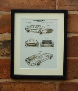 USA Patent Drawing DELOREAN BACK TO THE FUTURE car SCI FI MOUNTED PRINT 1965