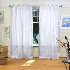 White Silver Tie Top Sheer Sari Curtain / Drape / Panel - Piece