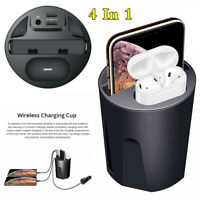 Car Cup Style Qi Wireless Fast Charger 2USB Charging Airpods Headset Storage Box