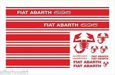 FIAT 500 F/L/R FASCE ADESIVI LATERALI PORTA SCRITTA ABARTH 695 ROSSE SPORTIVE