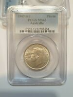 1947 australian florin coin Graded By PCGS MS63