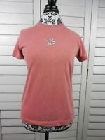 Life is Good Flower Shirt Womens Small Pink Top Solid Shirt Ladies Basic Casual