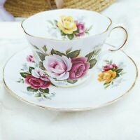 Vintage Rosina China England Queens Tea Cup & Saucer Set Hand Painted Roses