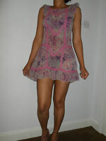 WOMANS LADIES LIGHT SUMMER MINIPINK/GREY/LACE DETAIL DRESS EX 'ROCHA JOHN ROCHA'