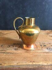 """Vintage Brass Vase Pitcher Holder Made Holland Finger Loop Handle MCM 4.5"""""""