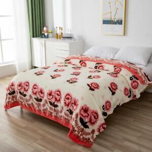 Fleece Blanket Large Sofa Throw Soft Warm Faux Fur Floral Mink Sizes Double+King