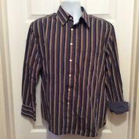 RG Robert Graham Shirt L Brown Cream Blue Striped Flip Cuff Contrast Print