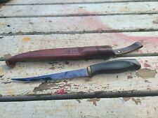Vintage 1967 Normark Finland Filet FISHING Knife with Leather Sheath NICE PICS