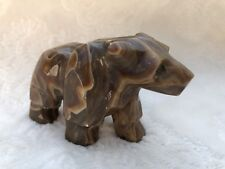 Midcentury Carved Crazy Lace Agate Bear Stone Animal Carving Paperweight