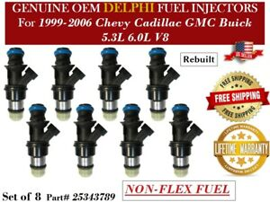 8 Fuel Injectors OEM Delphi for 2002-2006 Chevrolet Avalanche 5.3L V8 NON-FLEX