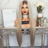 27 inch Long Straight Hair Full Wig Women Gradient Light Brown Ombre Wig