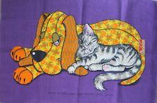 "Vintage Linen Chris Bash Tea Towel  20"" x 30"" Calico Dog and Cat Purple NWT"