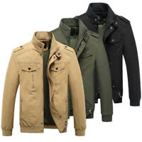 Mens Jacket Fashion Warm Winter Casual Overcoat Outwear Trench Military Zip Coat