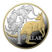 2014 GOLD PLATED $1 Kangaroo PROOF Coin ex Set