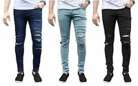 Mens Skinny Super Stretch Slim Fit Ripped Denim Distress Jeans Biker All Waist