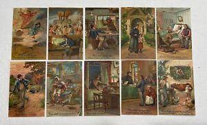 Postcards 10 Commandments 8554 Complete Set Embossed Germany