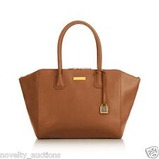 "qqe  NEW Joy & Iman Genuine Leather ""Best Friend"" City Satchel  WHISKEY BROWN"