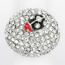 Ladybug Cocktail Rings 3d Fairy Tale Costume Jewelry Crystal Clear Silver Size 8