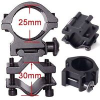 Tactical 25mm Ring Barrel Mount Fits 20mm Rail For Scope/Laser/Flashlight/Torch