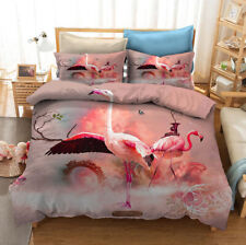 3D Fairyland Flamingo Duvet Cover Queen Bedding Comforter Cover Pillowcase