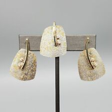 Artisan M. Zion 14K 24K Gold, Sterling Silver, & Diamond Pendant & Post Earrings