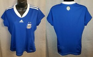 Argentina National Team Blue Adidas Polyester Cap Sleeve Jersey - Womens Large