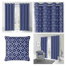 Navy Eyelet Curtains Blue Geometric Lined Ring Top Ready Made Curtain Pairs