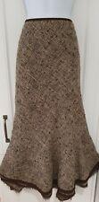 Womens Per Una Brown Country Tweed Steampunk Victorian Bustle Wool Midi Skirt 16