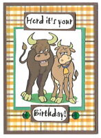 BIRTHDAY Greeting Card - HERD COUPLE Animal Cow - Handmade A2 size
