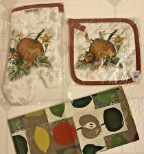 New listing Williams Sonoma Harvest Pumpkin Pot Holder & Oven Mitt Set, Towel - New W/Tags