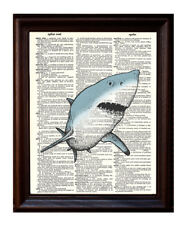 Great White Shark - Dictionary Art Print Printed On Authentic Vintage Dictionary