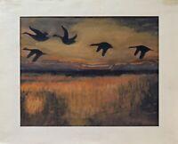 Sonnenuntergang mit Vögeln über dem Meer Romantik unbek. Impressionist