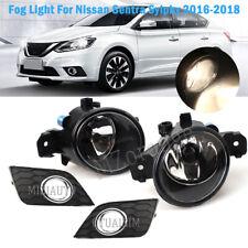 Fog Lights Cover Chrome Lamp For Nissan Sentra Sylphy 2016 17 2018 H11 Bulbs Set
