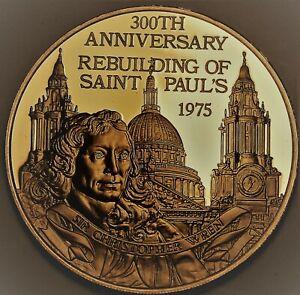 300th Anniversaire St. Pauls Cathédrale Reconstruis Bronze Preuve Médaillon~
