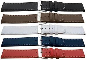 Quality Leather Watch Strap/White Stitching 12,14,16,18,20mm Width - FREE P&P