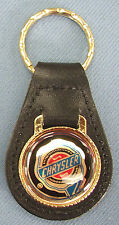 IMPERIAL Script Eagle Black//Silver Chrysler Leather Key Ring 1972 1973 74 1975