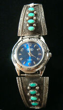 Navajo Vintage Watch Sterling Silver with Sleeping Beauty Turquoise-Old Pawn