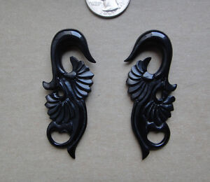 Pair Organic Carved Horn Tribal Floral Spirals Hanging Flower Ear Taper Plugs