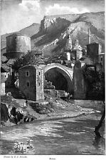Mostar HERZEGOVINA Sketches by Peixotto SARIC MOSQUE Turks 1902 MAGAZINE ARTICLE