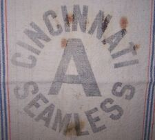 VINTAGE ORG HEAVY COTTON CLOTH CINCINNATI A SEAMLESS SACK BAG-FEED-SEED-FARM