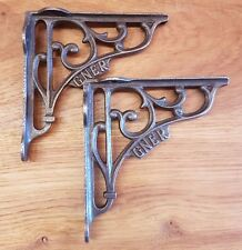 "A Pair of Cast Iron GNER Shelf Bracket 6"" x 6"" Railway / Vintage / Retro"