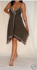 La Mujer Marrón té vestido de cóctel Envoltura En Seda Con Tiras siguiente tamaño 10